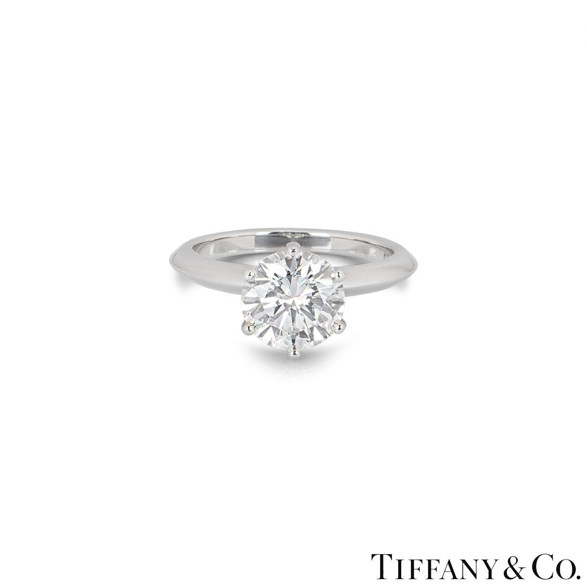 Tiffany & Co. Platinum Diamond Setting Ring 2.12ct G/VS1 XXX